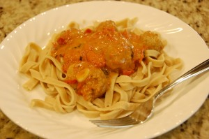 fresh fettuccine with garden tomato vodka sauce