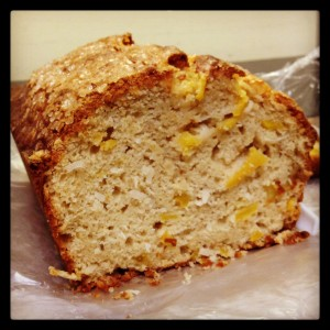 Here is my updated version of the Mango Bread.  (You can see that the top of the loaf is domed instead of being flat.)