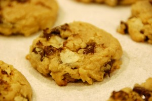 Chocolate chip cookies with salty bits of potato chips...