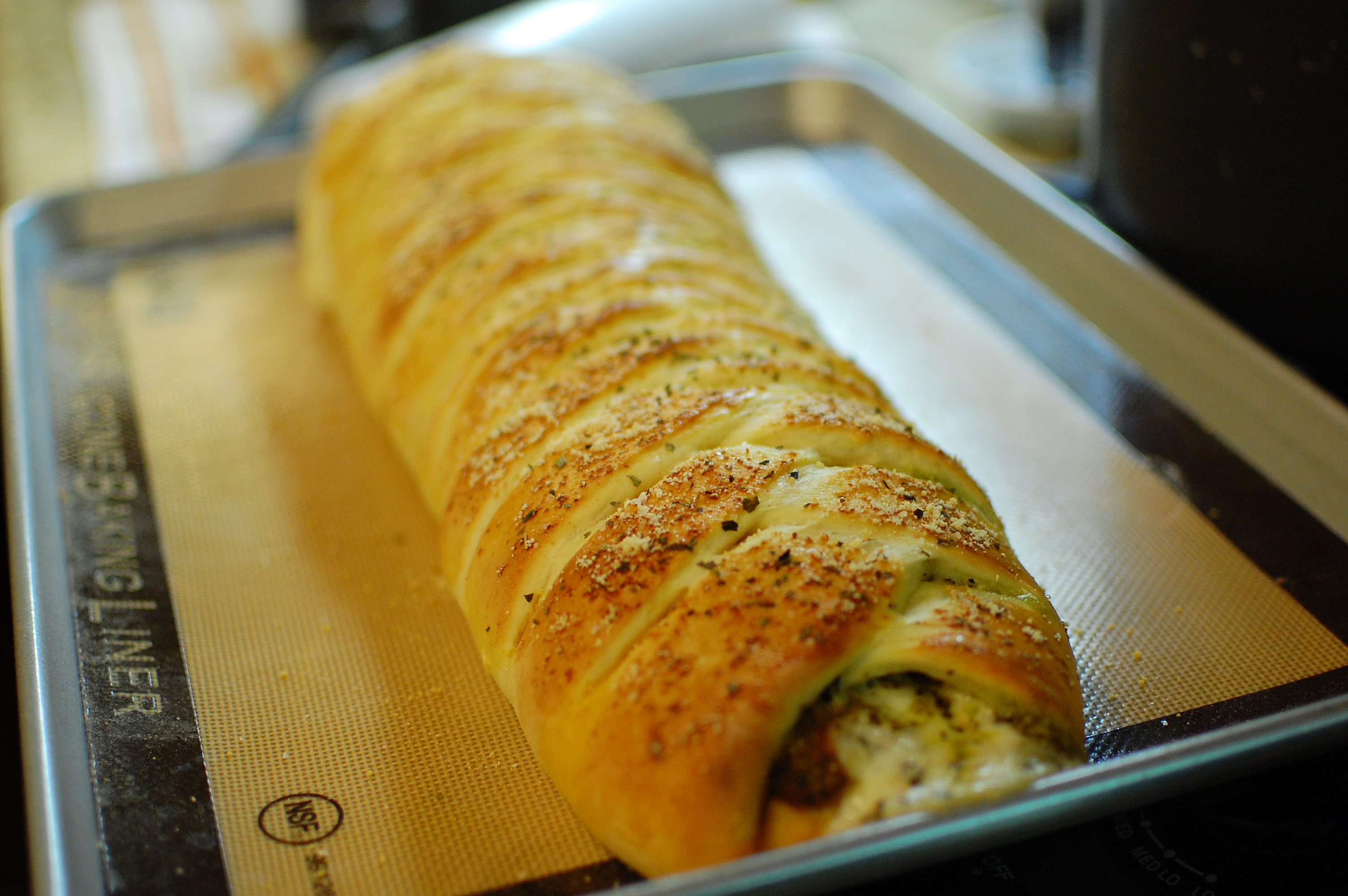 Pesto & Cheese Stuffed Braided Bread — The 350 Degree Oven
