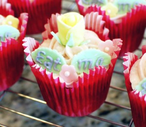 White Cupcakes with Strawberry Cream Cheese Frosting
