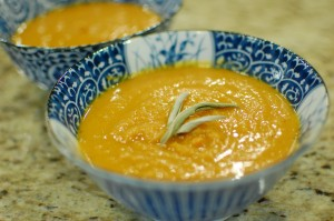 Fall Pumpkin-Sweet Potato Soup with Indian Spices