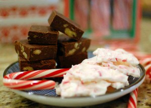 Easy microwave walnut fudge & white chocolate peppermint bark
