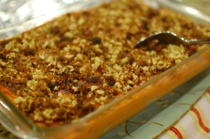 Sweet Potato Casserole with Sweet Pecan topping
