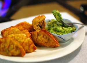 Mexican Wontons made with Green Anaheim Chiles, Cilantro, and Ground Pork