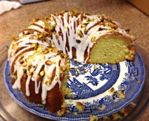 Pistachio Pudding Cake - made from boxed cake mix, a can of soda, and a box of instant pudding mix!