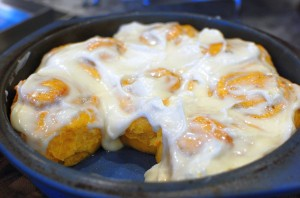 Carrot Ginger Walnut Rolls with Cream Cheese Frosting