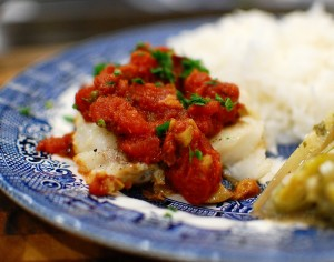 Pan Roasted Cod in Puttanesca Sauce