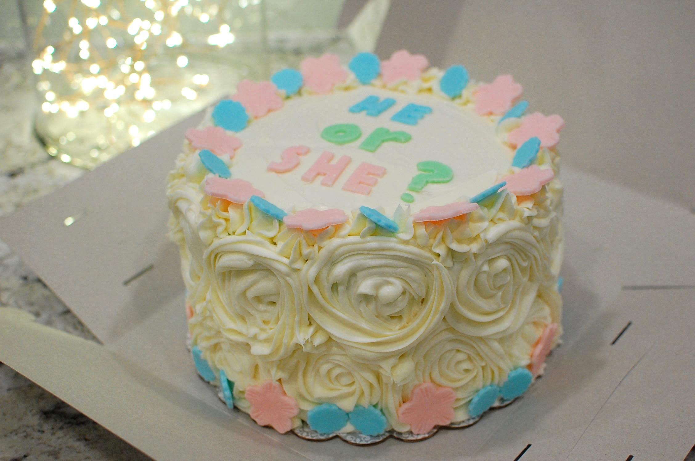 ombr blue or pink baby shower gender reveal cake the 350