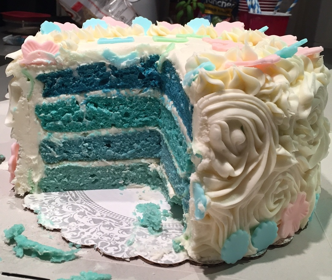 Ombr Blue Or Pink Baby Shower Gender Reveal Cake The 350 Degree