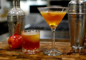 "Homemade syrup cocktails:  ""Ciderhouse Whiskey"" served on the rocks, and ""The Avenue"" served up"