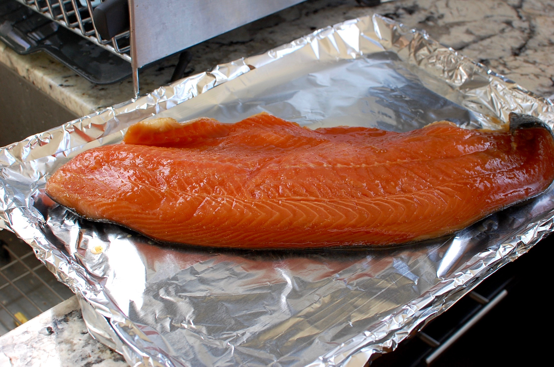 Misoyaki salmon fillet with sizzling soy vinaigrette the for Fish fillet in oven